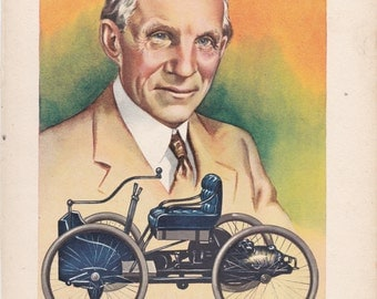 Print From A 1950's Children's Book. Henry Ford and his First Motor Car
