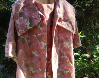 1950s Pink Floral Chiffon Dress and Coat - Size 6