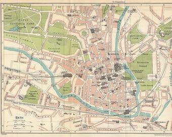 1930 Bath United Kingdom (Great Britain) Antique map