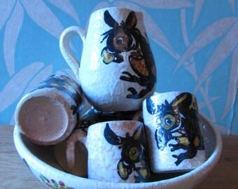1960s retro mid century Italian art pottery fruit bowl, mini mugs & jug set