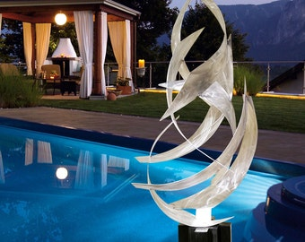 "Contemporary Modern Abstract Metal Indoor Outdoor Nautical Sculpture Silver ""Tempest"" by Dustin Miller"