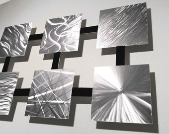 Modern Abstract Metal Wall Silver and Black Multi Panel Sculpture by Dustin Miller