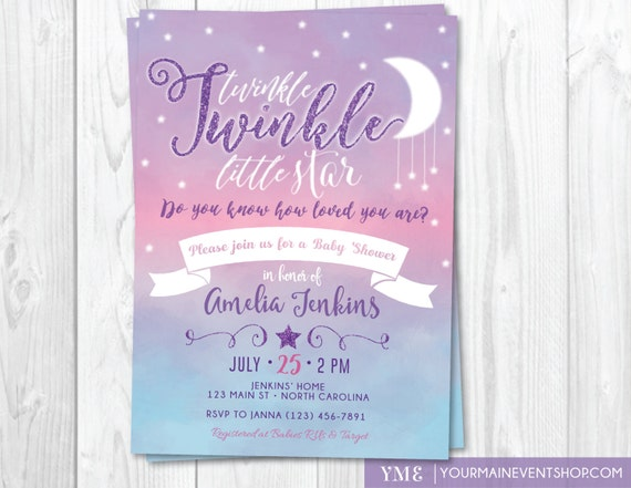 Twinkle Twinkle Little Star Baby Shower Invitation Twinkle Twinkle