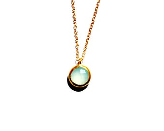 Blue Chalcedony necklace, 14 Kt Gold Chain necklace, Gold necklace, Gemstone Necklace, Chalcedony bazel