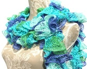 Blue/Green/Teal Crochet Ruffle Scarf, Sashay Scarf, Ready to Ship, Crochet Scarf, Women's Scarf, Handmade Scarf, Gift for her, Birthday Gift