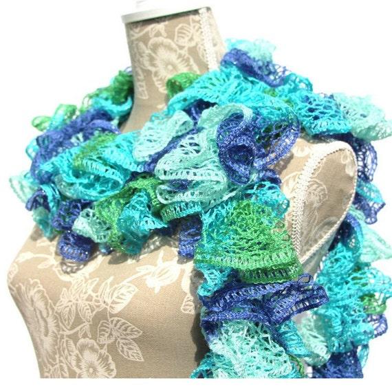 Ruffle Scarf, Crochet Ruffle Scarf, Blue, Green, Teal, Crochet Scarf ...