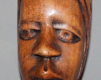 Vintage Hand Carved Wood Head Bust Statue