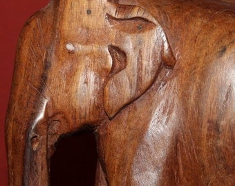 Vintage Hand Carved Wood Elephant Statuette