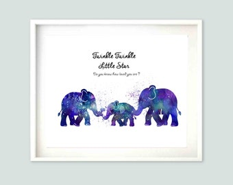 Boys Room Decor Nursery Art Kids Wall Art Elephant wall Art Nursery Wall Art Kids Room Decor Blue Kids Room Decor -No:260