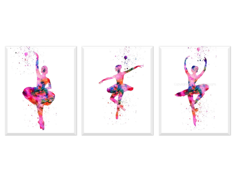 Ballerina print ballerina wall art girls room decor modern for Girls wall art