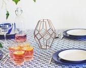 Glass Geometric Vase, Wedding Centerpiece, Girlfriend Gift, Copper Home Decor, Tabletop Centerpiece, Gift for Wife, Flower Pot, Hostess Gift