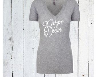 carpe diem shirt / womens v neck