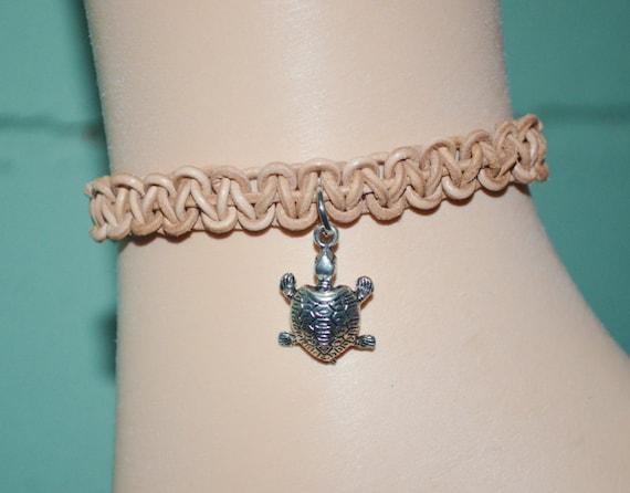 Ankle Bracelet Turtle Charm, Turtle Anklet, Turtle Charm on Leather Anklet, Leather Anklet, Sea Turtle Leather Anklet, Sea Turtle Charm