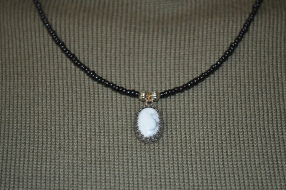 Necklace White Howlite Pendant on Beaded Wire