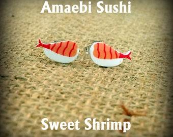Sushi Earrings - Sushi Jewelry - Sweet Shrimp Sushi - Japanese Sushi - Amaebi Sushi - Cook Earrings - Foodie Earrings - Food Fashion