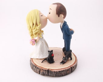 Cute couple kiss with pet cats. Wedding cake topper. Wedding figurine. Bride and Groom. Handmade. Fully customizable. Unique keepsake