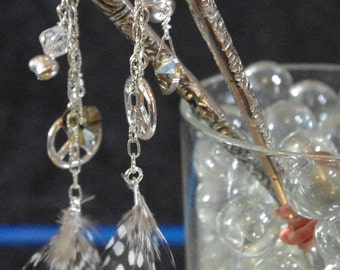 Swarovski silver peace sign and feather silver hairsticks