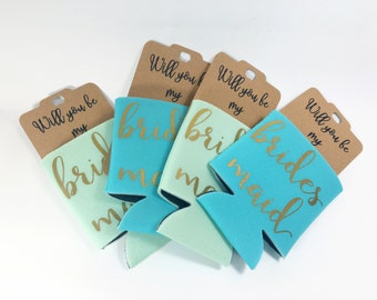 Bridesmaid Proposal Gift - Will You Be My Bridesmaid Gift - Maid of Honor Proposal - Bridesmaid Can Cooler - 1 Bachelorette Party Favor