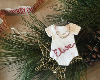 Felt Baby Onesie Ornament with hand-embroidered name and necklace - for girls
