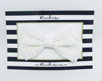 Cream White Lace Hair Bow, Ivory White Lace Hair Bow, White Lace Hair Bow, White Glitter Hair Bow, White Hair Bow