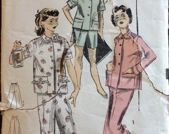 Advance 6583 - 1950s Girls Pajamas with Long or Short Sleeve Button Front Top and Short or Long Trousers - Size 14 Bust 32