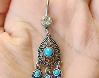 Turquoise Boho Belly Ring. Silver Belly Button Ring. P2.