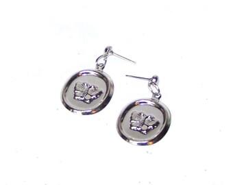 Silver Earrings - Butterfly Earrings - Round Butterfly Dangle Earrings - Minimal - Lightweight