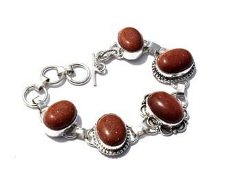 5 Stone Bracelet / Gold Stone Bracelet / Fashion Jewelry, Fashion Bracelet / Gemstone Bracelet / Toggle Bracelet / Handmade Jewelry