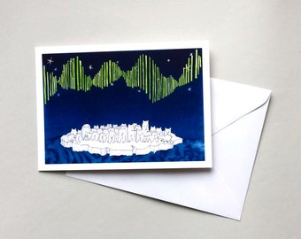 Polar Bear Greetings Card. Aurora of Polar Bears. Northern Lights. Thank You Card. Collective Noun for Animals. Birthday card