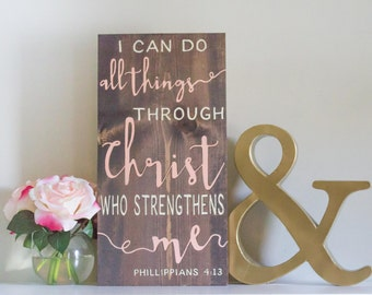 Scripture Art, Bible Verse, Wooden Sign, Christian Art, I Can Do All Things Through Christ Who Strengthens Me, Christian Wall Hanging