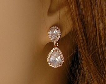 Rose Gold Bridal Earrings, Rose Gold Teardrop Earrings, Wedding Jewelry, Crystal Bridal Earrings, Statement Earrings, Bridal Jewelry