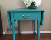 RESERVED for AMANDA: Vintage Pembroke Accent Table / Florence / Annie Sloan / Chalk Paint / Turquoise /Chicago IL