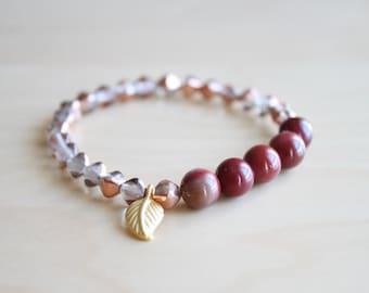 Mookaite mala bracelet / yoga bracelet / stone bracelet / stacking bracelet / leaf bracelet