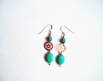 Turquoise Earrings, Turquoise and Copper Earrings,  Steam Punk Earrings, Turquoise Drop Earrings, Sterling Ear Wire, December Birthstone