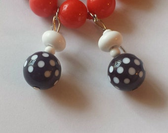 Vintage Polka Dot Lucite Earrings Plastic Earrings Retro 1970s