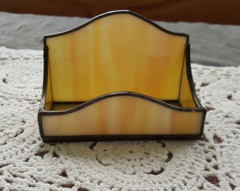 Butter Yellow Stained Glass Business Card Holder