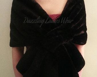 Black Soft Faux Fur Stole / Wrap / Shawl / Bolero / Shrug - Satin Lining - Weddings/bridal