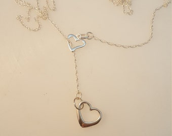 Sterling silver lariat hearts necklace