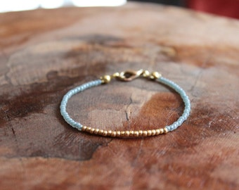 Aquamarine Blue and Gold seed bead bracelet March Birthstone