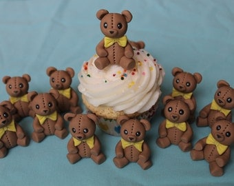 Brown Fondant Teddy Bear cupcake or cake toppers, 12 pack