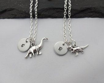 Initial Dinosaur Necklace, Dinosaur Necklace, Initial Necklace, Charm Necklace, Dinosaur Gifts, Dinosaur Gift, Jewellery, Dinosaur Jewelry