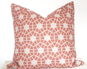 Pastel cushion, coral geometric cushion, pastel hexagon cushion cover, melon cushion, pink geo cushion, sofa cushion
