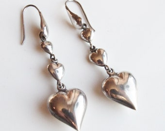 Vintage 925 Sterling Silver Heart Long Drop Earrings