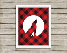 Wolf Download, Plaid Printable, Red and Black Art, Wolf Wall Decor, Instant Download, Plaid Art, Lumberjack Plaid, Digital Download