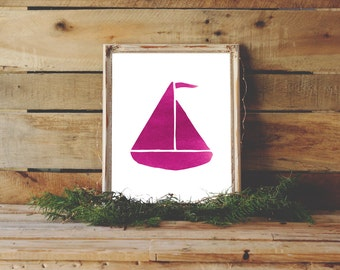 Sailboat Printable, Pink Ocean Print, Pink Nursery Art, Nautical Wall Art, Pink Girls Room Wall Art, Boat Print, Boat Art, Sailing Decor