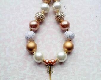 Arrow Necklace, Follow Your Arrow Chunky Bubblegum Bead Necklace with Gold Arrow Pendant, 20mm Beads, Gold Arrow Necklace, Gold and Pearl