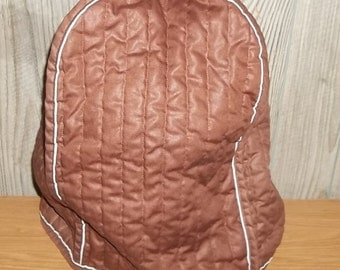 Vintage Large Appliance Cover  Brown 70s Stand Mixer Cover Quilted Stripes White Trim