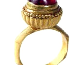 Unique Garnet Ring Vintage Antique Etruscan Ring 'Cluny' Non Traditional ENGAGEMENT RING Gold Gemstone Engagement Ring Custom Right Hand