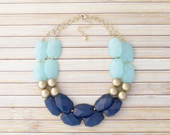 Aqua & Navy Statement Necklace, Chunky Bold Double-Strand Beaded Necklace, Unique Geometric Bead Necklace, Bib Style Artisan Collar Necklace