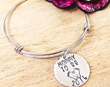 New Mom Gift, Mommy To Be, Hand Stamped Mom Bracelet, Baby Coming Soon, New Baby Gift, Mom To Be Bracelet, Hand Stamped Baby Feet